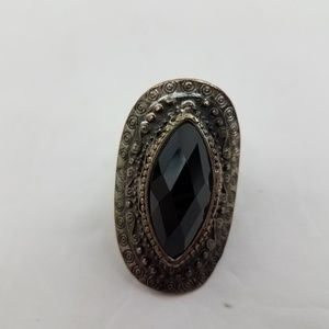 Jewelry - Cocktail Ring Big Statement Silver Tone Black Face